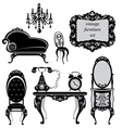 Set of antique furniture - isolated black silhouet