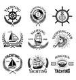 set yachting emblems isolated on white vector image