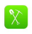 shovel and pickaxe icon digital green vector image vector image