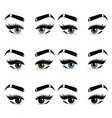 six pairs womans eyes eyelashes and eyebrows vector image