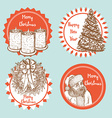 Sketch Christmas set of emblems vector image vector image