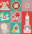 Sticker set Vintage nautical card and seamless vector image