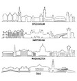 stockholm amsterdam washington and oslo vector image vector image