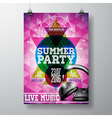 Summer Beach Party Flyer Design with headphone vector image vector image