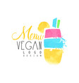 summer menu logo design badge for vegetarian vector image vector image