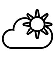 sun and cloud line icon weather vector image vector image
