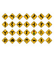 traffic signs warning in format set on white vector image