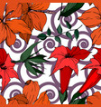 tropical flowers and leaves isolated black vector image vector image