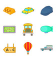 trucking icons set cartoon style vector image vector image