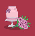 wedding celebration card with sweet cake vector image vector image