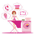 woman irons clothes and thinks of other homework vector image vector image