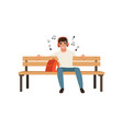 young man sitting on a bench and listening to vector image vector image