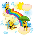 bees playing in sky with a rainbow vector image