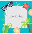 Summertime traveling template with beach summer vector image