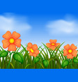 background scene with flowers in garden vector image