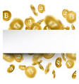 background with falling gold bitcoins vector image vector image