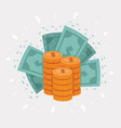 big stack golden coins and dollar vector image