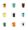 Bin icons set flat style vector image vector image
