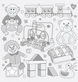 black and white children vintage toys vector image vector image