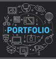 black line flat circle portfolio vector image vector image