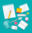 blank notebook papers and office items stationery vector image vector image