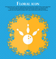 bowling icon Floral flat design on a blue abstract vector image vector image