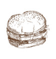 burger beefsteak tomato letucce cheese engraving vector image