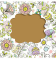 card frame with floral pattern doodle style vector image vector image