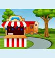 cartoon of amusement park entrance on the roadside vector image vector image