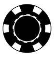 casino chip icon black color flat style simple vector image vector image