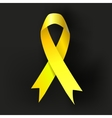 Childhood Cancer Awareness Yellow Ribbon on dark vector image vector image