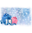Christmas background with gift boxes and ribbons vector image