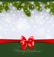 christmas tree branch on snowy background vector image vector image