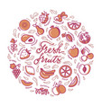 circular with fruit and text for shop vector image vector image