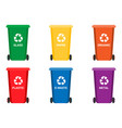 colorful recycle trash bins isolated white vector image