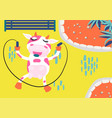cute cow rope jumping in an amusement park kids vector image