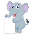 Cute elephant cartoon with blank sign vector image vector image