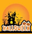 cute halloween sticker element silhouette castle vector image vector image