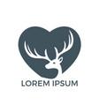 deer heart shape logo design vector image vector image