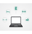digital marketing Laptop with sample icons vector image vector image
