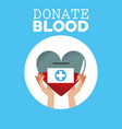donate blood hand holds heart vector image vector image