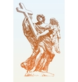 drawing marble statue angel from santangelo vector image vector image