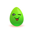 easter egg cartoon green symbol of holiday winking vector image vector image
