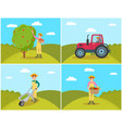 farmer gathering apples set vector image vector image