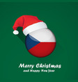 flag of czech republic merry christmas and happy vector image