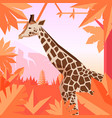 flat geometric jungle background with giraffe vector image vector image
