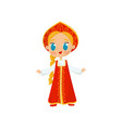 flat icon of little girl with long braid vector image vector image