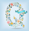 floral letter q with blue ribbon vector image vector image