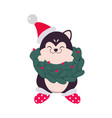 funny dog in santa hat and christmas fir wreath vector image vector image