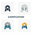 gamification icon set four elements in diferent vector image vector image